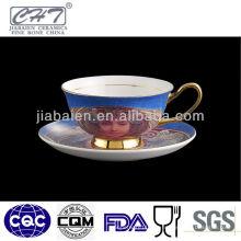 Nuevo diseño de cerámica de estilo egipcio taza y platillo conjunto