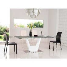 2013 new modern mdf and top glass dining table set