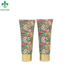 tubo de creme de mão de impressão de flor offset com tampa de rosca