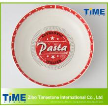 Tazón de pasta de porcelana con calcomanía