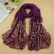 Spezieller Frauen goldener Leoparddruck hijab arabischer Dubai-Moslem hijab Warp-Kopftuch