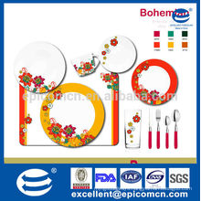 pattern bright red and orange rim with several flowers ceramic dinnerware set 10pcs in bone china