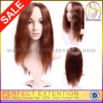 Paypal venta por mayor pegamento Remy Virgen mongol del pelo humano peluca de Topper