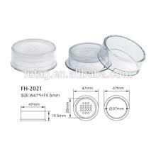 Contenedor transparente vacío polvo suelto