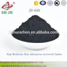Alto carbono activado por adsorción de azul de metileno