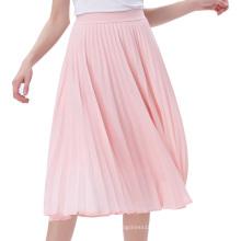 Kate Kasin Womens elegante de moda de alta cintura de poliéster plisado Swing una línea de falda rosa KK000659-1