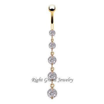 Ausgefallene 18K Gold PVD Dangle Nabel Ringe zu verkaufen