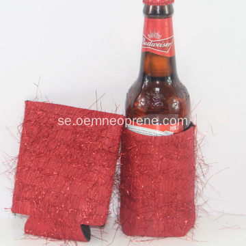 Red Glitter Neopren Can Cooler Sleeve