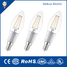 Lámpara blanca caliente de la vela del filamento LED de 220V 3W E14 SMD