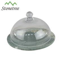 El nuevo pastel de mármol chino del chino basa el tablero de queso con la cubierta de cristal de la bóveda