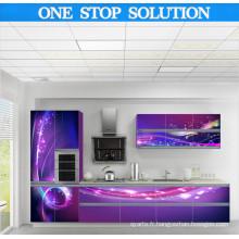 Cabinet de cuisine 3D à haute luminosité Island High High