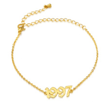 Stainless Steel Custom Adjustable Chain link Friendship Jewelry  Birth Year Charm Number Bracelets