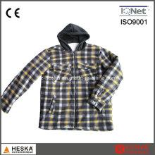 Novo estilo longo inverno manga xadrez com capuz camisa