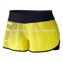 Yellow polyester fabric custom made crossfit shorts for girls and women