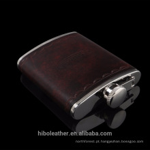 Luxo feito sob encomenda gravada hip flask de couro
