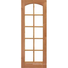 10 francés lite vidrio arqueado de madera superior de la puerta Interior