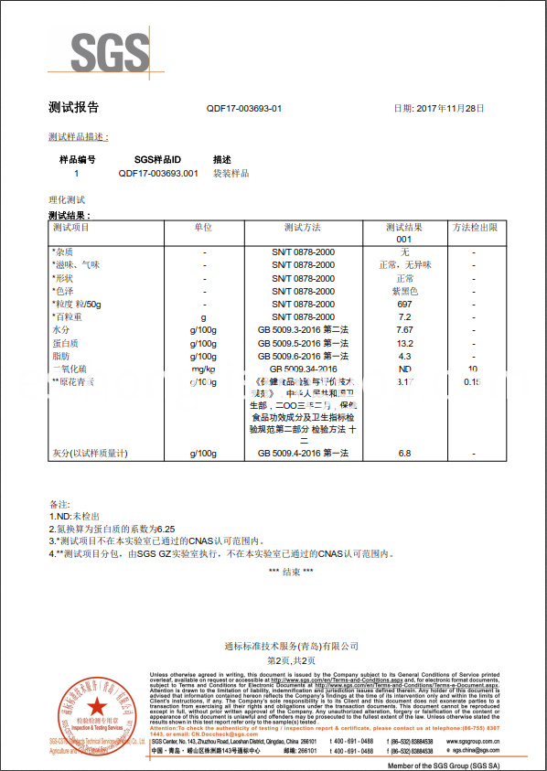SGS black goji test report 2