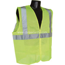 HiVis Lime Safety Vest with Zipper Closure