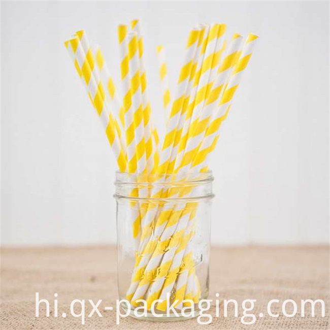 Yellow And White Striped Straws