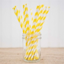 Custom yellow and white striped straws