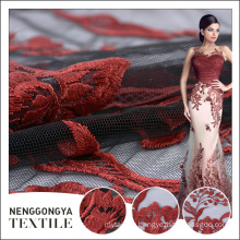 Custom made Different kinds of soft wedding embroidery lace fabric textile
