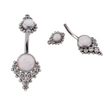 Titanium 14G Threaded Curved Barbell Bezel Set Zircon Opal Cluster Terraced Belly Button Ring