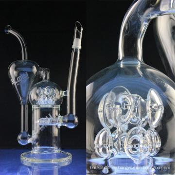 Großes Inline Glas Wasserpfeife zum Rauchen mit Perc (ES-GB-024)