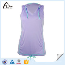 Running Wear Mulheres sem mangas Tops Running com Hoodies