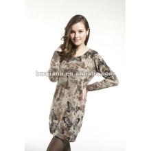 Robes de chandail de dames de mode / 100% de tricots de cachemire