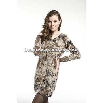 мода дамы свитер платья/ 100% трикотаж кашемир