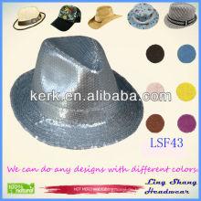 Mode Silber Sequins Baumwolle / Polyester Fedora Hut, LSF43