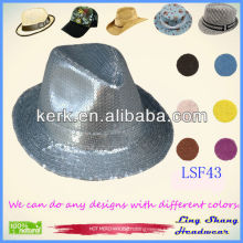 Fashion Silver Sequins Cotton/Polyester Fedora Hat,LSF43