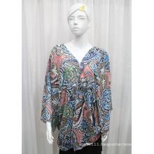 Lady Fashion Paisley Printed Polyester Chiffon Silk Shirt (YKY2214)