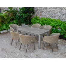 2017 Hot Outdoor Paito Garden Polyethylene Rattan Dining Set Wicker Furniture