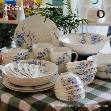 plain white half decal dinnerware fine bone china chinese dinner set
