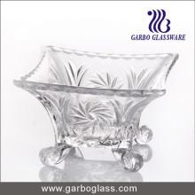 """Tazón de vidrio de pie cuadrado de 6 """"con diseño en relieve"""