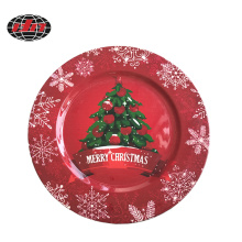 Happy Christmas Tree Pattern Plastic Charger Plate