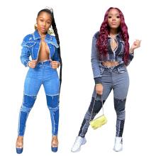 in Stock Autumn Girls 2021 Fall Fashion Plain Bodysuit Short Women Clothing Two Piece Clothing Set Jeans