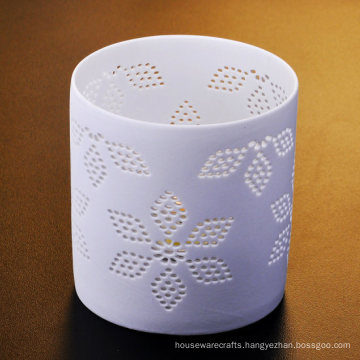 Hollow out Flower Patterned Thin Ceramic Tealight Candle Holders