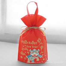 Bolsa de embalaje de regalo de año nuevo con asa roja