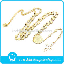 TKB-JN0017 Fashion top quality catholic gold with box shape beads and Crucifix pendant women's stainless Steel Necklace