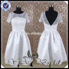 RQ040 Wholesale Simple White Short Wedding Dress