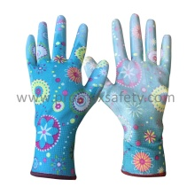 Printed Polyester Knitted Garden Gloves with White PU on Palm