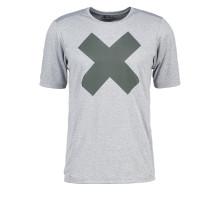 Imprimir camiseta cinza melange homens correndo desgaste