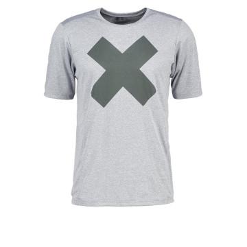 Imprimir camiseta gris melange hombres corriendo desgaste