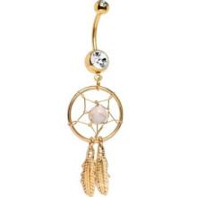 Gold überzogener kristalliner Edelstein-Traumfänger-Bauch-Ring