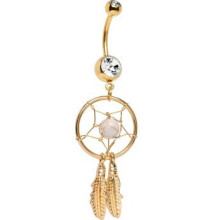 Gold Plated Crystalline Gem Dreamcatcher Belly Ring