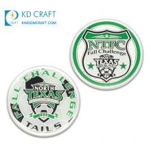 Wholesale No Minimum Order Custom Metal Die Casting Silver Plated Enamel Epoxy Texas Sports Football Club Team Referee Soccer Coin for Promotion