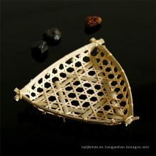 FQ marca pequeña mesa de decoración hecha a mano de bambú cesta de frutas