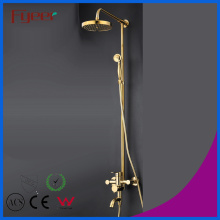 Fyeer Luxury Solid Brass Bathroom Rainfall Golden Shower Set